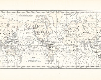 1903 Map World - Tidal Waves - Vintage Antique Map Great for Framing 100 Years