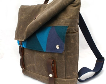 Waxed Canvas Backpack / Quilted Blue Prism Recycled Wool & Oiled Leather