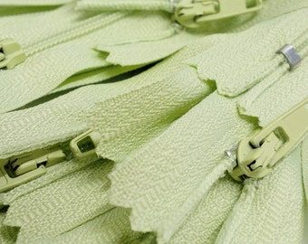 "Sale 7"" Nylon Coil Zipper #3 (Special NOT From YKK) Skirt & Dress Zippers Closed Bottom - Color Lazy Lime Green #881 (10 Zippers / Pack)"