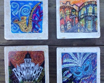 Set of four New Orleans coasters