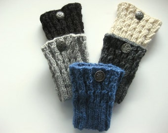 Cable Knit Boot Toppers, Boot Cuffs, 5 Inches Long, Pure Chunky Wool, Pick Your Color, Price is for 1 Pair, Ready To Ship