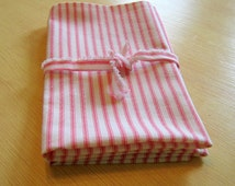Kitchen Dish Towels Vintage Look Ticking Towels In Azalea Set Of Two