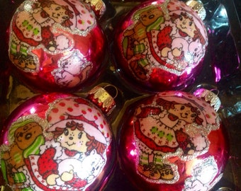 Strawberry Shortcake pink Glass Ornaments