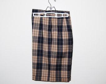 Vintage Bermuda Wool Shorts Khaki and Black Plaid
