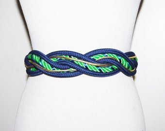 Vintage Belt Lime and Navy Nautical Stretch Braided