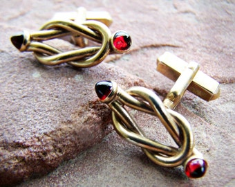 Vintage Cuff links Swank Gold plated Twist Loop Knot with Ruby Red Glass Cabochons