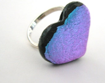 Purple heart cocktail ring - Valentine's Day fused glass heart jewelry,  dichroic glass ring, blue ring, romantic jewelry