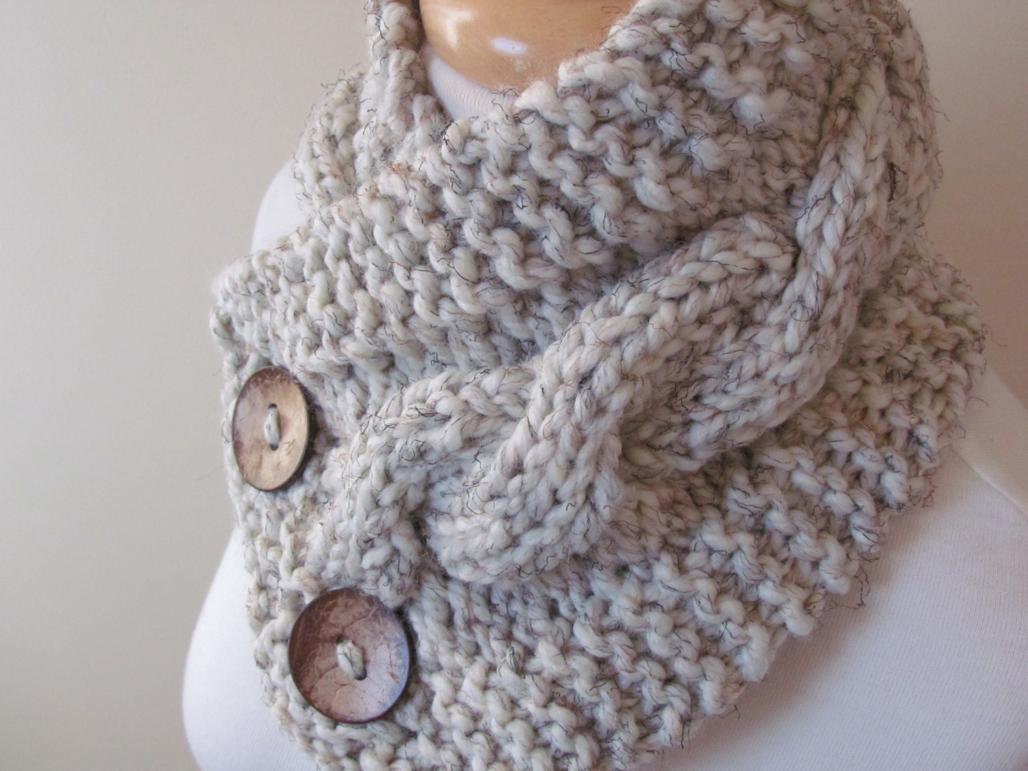 Knitting Pattern Scarf Neck Warmer : Knit Neck Warmer Cable Knit Scarf Chunky by pegsyarncreations