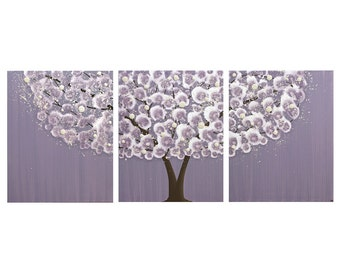 Purple Wall Art Canvas Tree Painting on Triptych for Baby Girl Nursery - Large 50x20