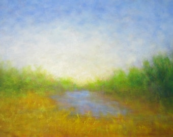 Landscape painting August Pond Park in Amsterdam Yellow Green Blue Free Shipping within the USA