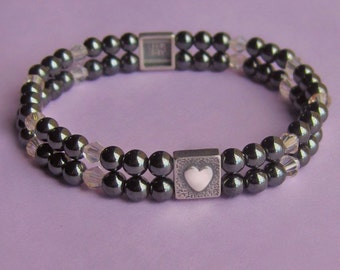 Sterling Silver, Hematite and Crystal Friendship Stretch Bracelet
