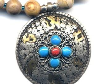 Tibetan Double Dorje Mandala Pearl Necklace, Nepal  Mandala Pendant,  Jasper Necklace, Nepal Jewelry by AnnaAr72