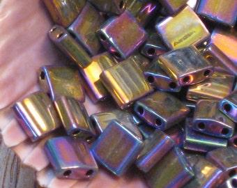 Tila Beads Metallic Purple Gold Iris # 188 5 Or More Grams 5mm Miyuki Two Hole Flat Glass Tile Beads Purple Square Shiny Gold Iris Rainbow