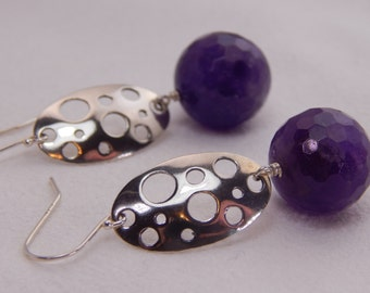 Having a Ball (or Two) Amethyst and Sterling Silver Earrings