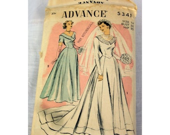 1950s Bridal Gown  Advance Pattern #5341 Wedding Dress Vintage Size 14 Bust 32 Hip 35