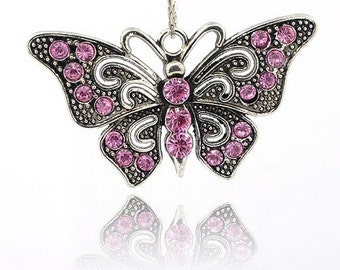 Butterfly Pendant - Pink Rhinestones