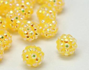 Resin Rhinestone Beads - Lemon Yellow - Set of 10 - #RR149