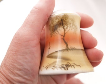 Handpainted Noritake Salt Pepper Shaker Tree Nature Scene