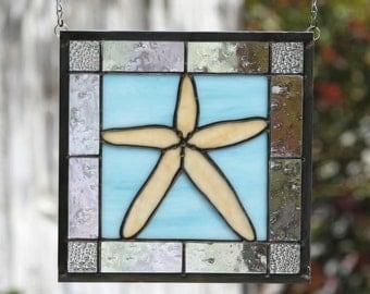STARFISH - Stained Glass Window Panel - Starfish, Ocean,  Sea, Aqua Blue, Beige. Sand, Stain Glass, Beach Art, Tidepool, Clear, Seashore