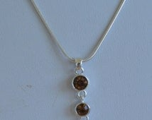 Pretty Delicate Vintage Smokey Topaz Crystal Necklace, Silver tone, Adjustable, Snake Chain