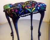 Deep buttoned dressing table stool
