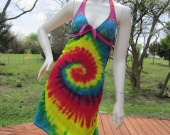 Rainbow Tie dye t shirt bikini dress with hemp stitching