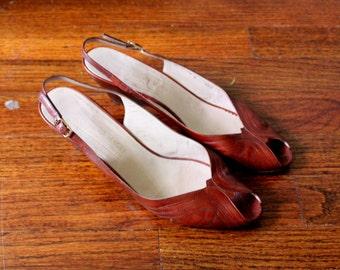 BRUNO MAGLI Shoes Tan Leather Peep Toe Sling Back Vintage