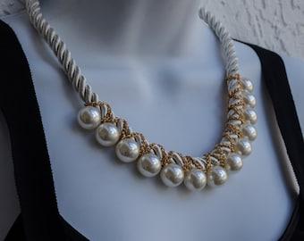 Imitation Large Pearl Necklace, Cream Pearl Necklace, Bib Pearl Necklace, Bubble Modern Necklace, Cord Bib Necklace