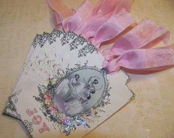 Ballet Tags Christmas Tags All Occasion Tags Vintage Style Shabby Chic Cottage Chic Style - Set of 6 or 9