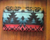 vintage southwestern fleece blanket. tribal blanket coat.