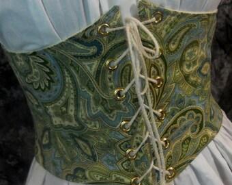 Renaissance Waist Cincher - Pirate Waist Belt - Corset - Green And Blue Paisley - Steampunk, SCA, LARP, POTC Costume