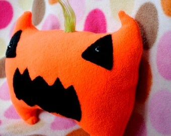 SALE Pumpkin Monster - Plush Jack-O-Lantern Halloween Stuffed Toy