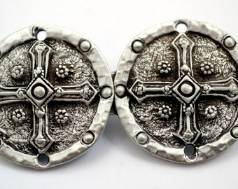 Cross Shield Pewter Cloak Clasp made in the USA