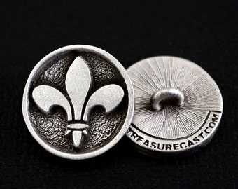 Fleur de lis Button .75 inch or 19mm in Fine Pewter Set of TWO by Treasure Cast Pewter