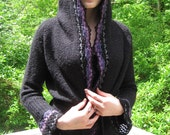 BASIA DESIGNS Black Boucle Hooded Sweater with Multi Color Hand Crochet Trim