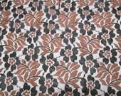 2 5/8 Yards 43 Wide Vintage 80s bronze and black floral lace trim dressmaking fabric