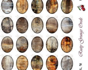 Rusty Grunge, 30 x 40 Background Ovals, for cameo jewelry, buttons, pendants, scrapbooking, collage - Sheet No. 18, Instant Download