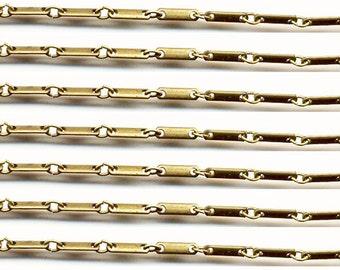 Vintage 10 Feet Brass Bar Chain K4R
