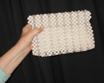 Vintage Clutch Bag with Large White and Clear Beads