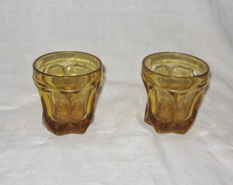 2 Amber Drinking Glasses Thick and Heavy