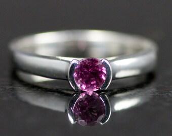 Pink Tourmaline Sterling Ring - Tourmaline Engagement Ring - Half Bezel Gemstone Ring
