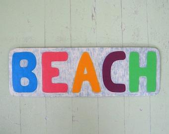 Art sculpture wall decor - Beach sign - reclaimed metal sign bathroom wall beach house 6 x 19