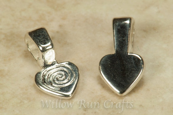 25 Small Shiny Silver Plated Heart Bails, Small Necklace Bails (07-06-290)