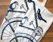 Towel Set of 2 - SPARROW BIKE - Multi-Purpose Flour Sack Bar Towels - Renewable Natural Cotton