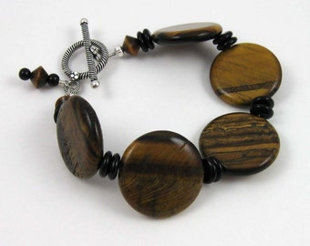 Tigereye Bracelet, brown tigereye and jet black gemstone beads with sterling silver toggle