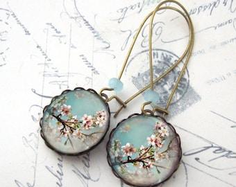 Cherry Blossoms Blue Sky Drop Earrings Antiqued Brass Dangle Earrings Tree Floral