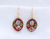 Red Cloisonne Earrings...