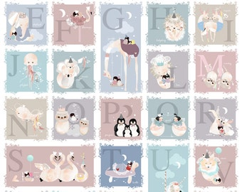 Children's ABC alphabet animal nursery art bedroom decor