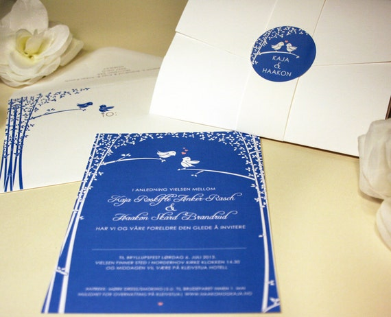 Love Birds Wedding Invitations: SAMPLE Love Birds Wedding Invitation Blue White By Vohandmade