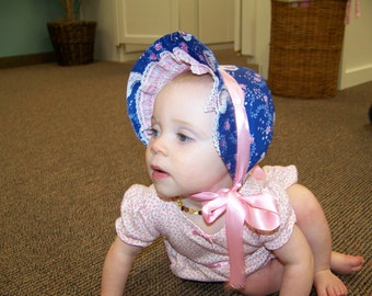 Baby Sun Bonnet pdf pattern and tutorial  sizes 3, 6 and 9, months Instant e-file download